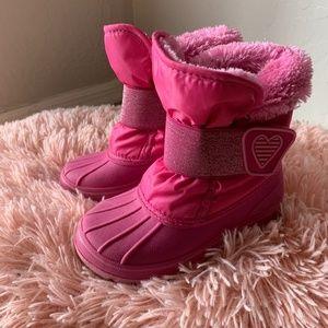 Girls Size 9 Pink Glitter Snow Boot